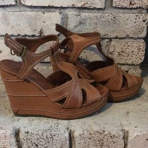 MIA chestnut/cognac brown wedge sandals